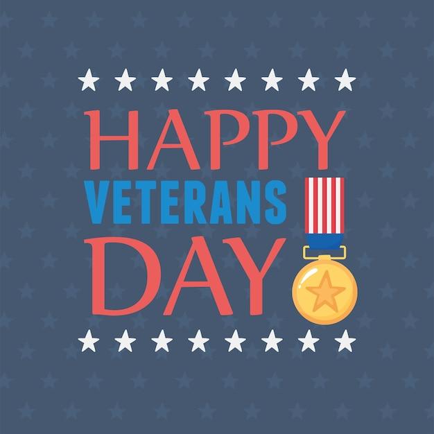 Happy veterans day, us military armed forces soldier, inscription medal flag emblem.