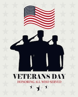 Happy veterans day, waving us flag and soldiers saluting card vector illustration