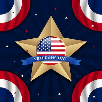Happy veterans day with golden star and circle flag