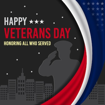 Happy veterans day with silhouette of a man