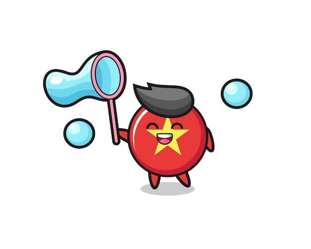 해피 베트남 국기 배지 만화 비누 방울, 티셔츠, 스티커, 로고 요소를 위한 귀여운 스타일 디자인
