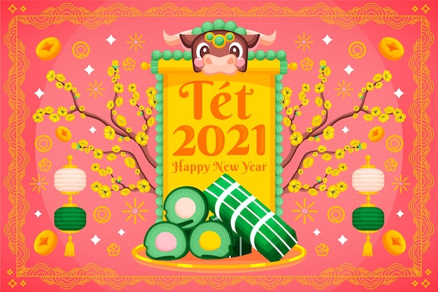 Happy vietnamese lunar new year with tet cake