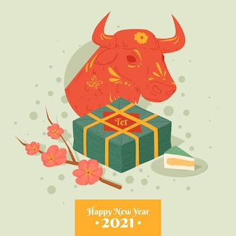 Felice anno nuovo vietnamita 2021 e toro