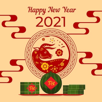Happy vietnamese new year 2021 flat design