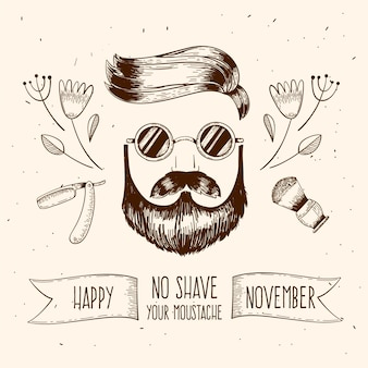 Happy vintage movember with man and sunglasses