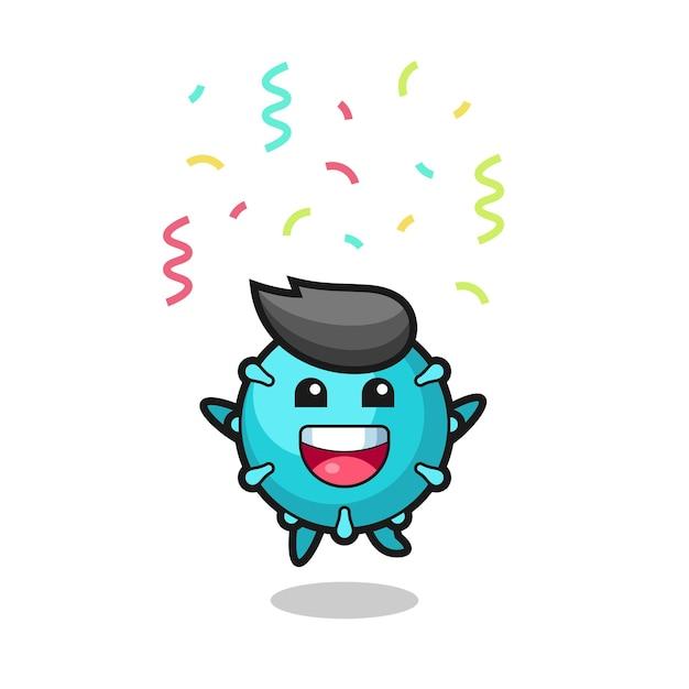 색종이 조각으로 축하하기 위해 점프하는 해피 바이러스 마스코트, 티셔츠, 스티커, 로고 요소를 위한 귀여운 스타일 디자인 프리미엄 벡터