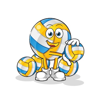 Happy volleyball cartoon character