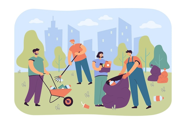 Happy volunteers cleaning city park from garbage isolated flat illustration