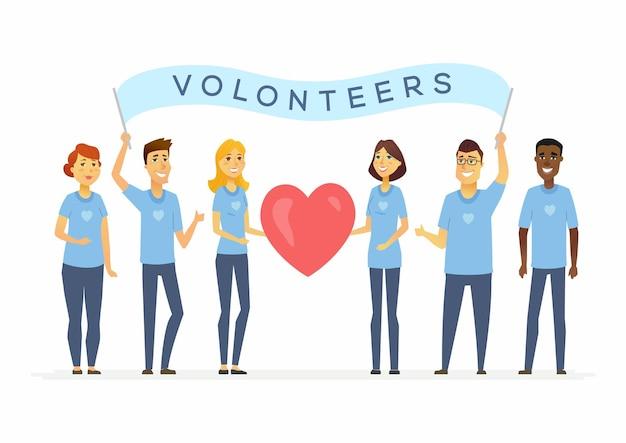 Счастливые добровольцы с знаменем - персонажи мультфильмов люди изолировали иллюстрацию на белом фоне. международные мужчины и женщины держатся вместе и держат большое красное сердце. концепция социальной работы, единство