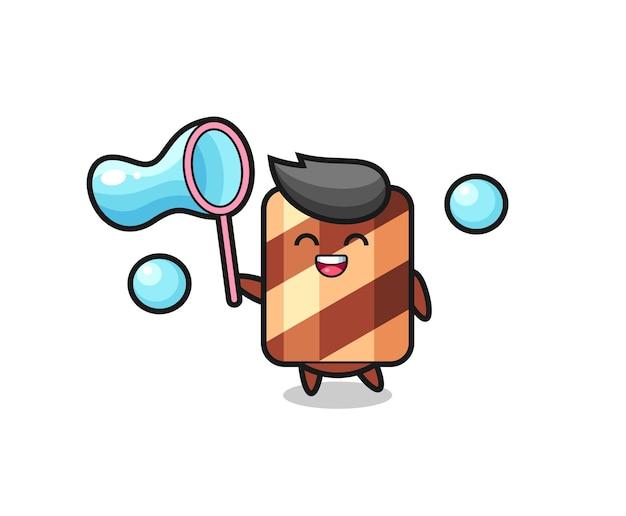 Счастливый вафельный рулет, играющий в мыльный пузырь, милый стильный дизайн для футболки, стикер, элемент логотипа