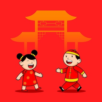 Happy walk chinese boy and girl cartoon character
