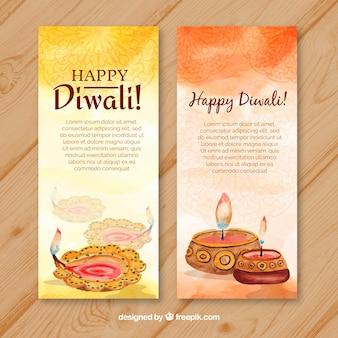 Banner diwali di acquerello felice