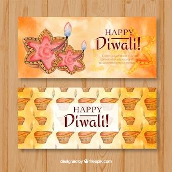 Happy watercolor diwali banners