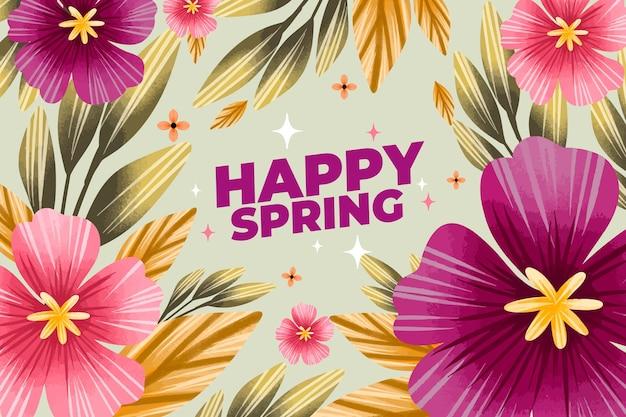 幸せな水彩画の春の背景