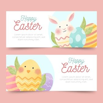 Happy watercolour easter banner template