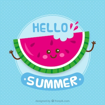 Happy watermelon background with phrase