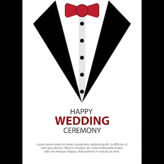 Happy wedding card design vector