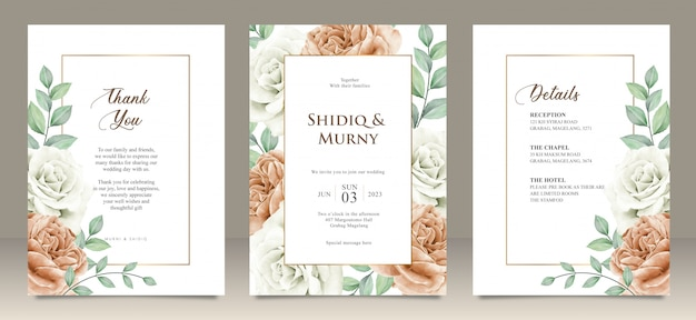 Happy wedding card floral garden invitation card marriage, details, thank you