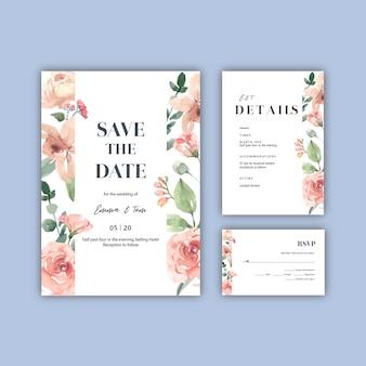 행복 한 웨딩 카드 꽃 정원 초대 카드 결혼, rsvp 세부 사항.