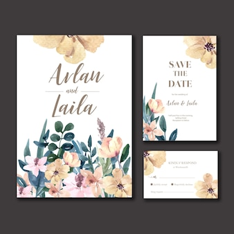 Happy wedding card floral garden invitation card marriage, rsvp detail.