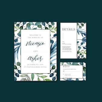 Happy wedding card floral garden invitation card marriage, rsvp detail