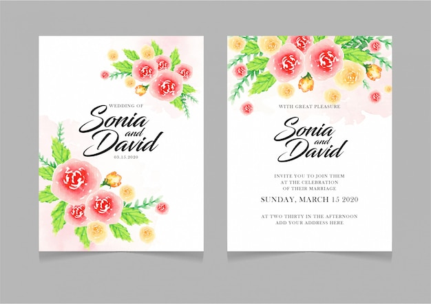 Happy wedding card invitation red yellow flowers green leaves