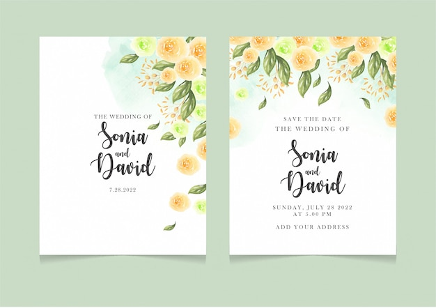 Happy wedding card invitation yellow flowers green leaves