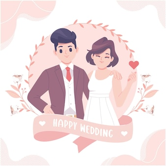 幸せな結婚式のグリーティングカードテンプレート