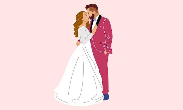 Счастливая свадьба супружеская пара