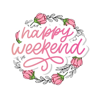Happy weekend hand lettering . perfect  element for greeting cards, posters and print invitations. good print design element slogan