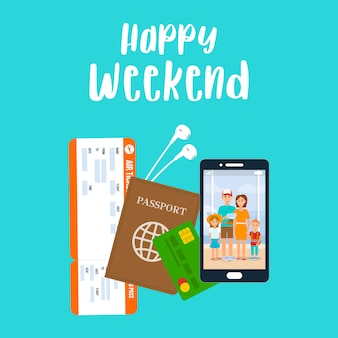 Happy weekend lettering vector poster, postcard.