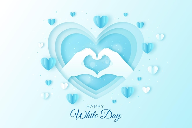 紙のスタイルで幸せな白い日のイラスト