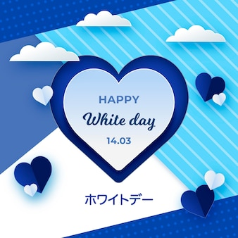 Happy white day illustration in paper style
