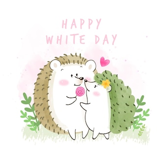 Happy white day illustration with hedgehogs