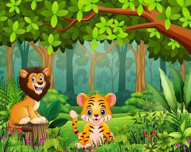 美しい緑の森で幸せな野生動物漫画