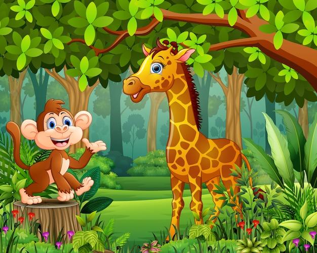 아름다운 녹색 숲에서 행복 야생 동물 만화