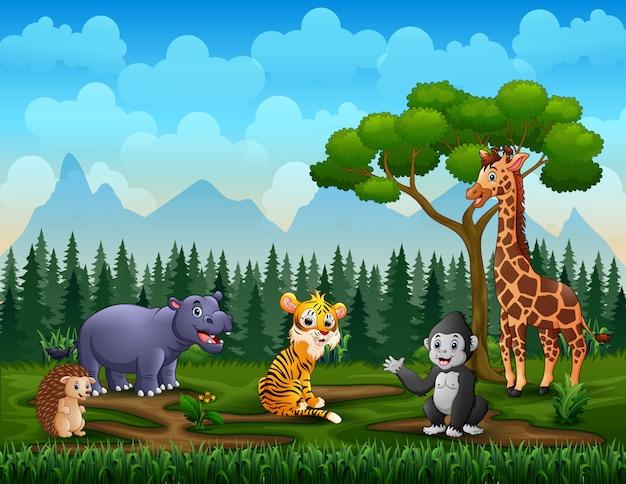 Счастливые дикие животные наслаждаются в зеленом поле