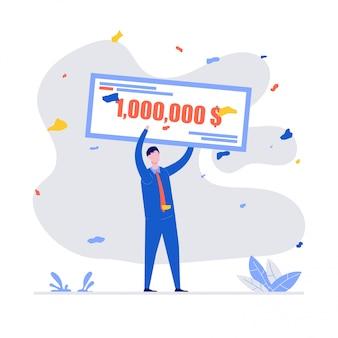 Счастливые победители держат банковский чек на миллионы долларов. молодой человек в формальном костюме выигрывает джекпот. выигрыш в лотерее, объявление победителя, денежный приз или концепция гранта.