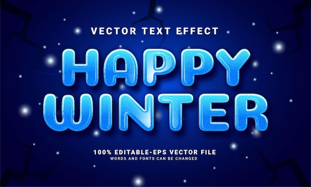 행복한 겨울 3d 텍스트 효과, 편집 가능한 텍스트 스타일 및 겨울 시즌 축하에 적합