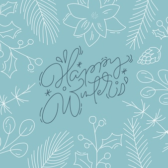 Happy winter calligraphic lettering hand written  text. christmas greeting card