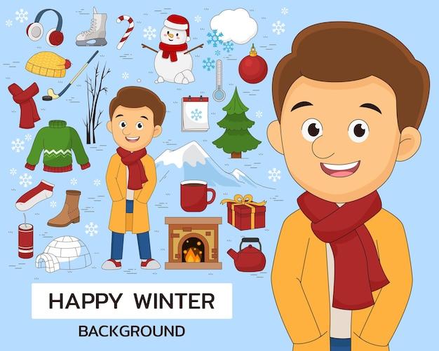 Счастливый зимний концептуальный фон. плоские значки.