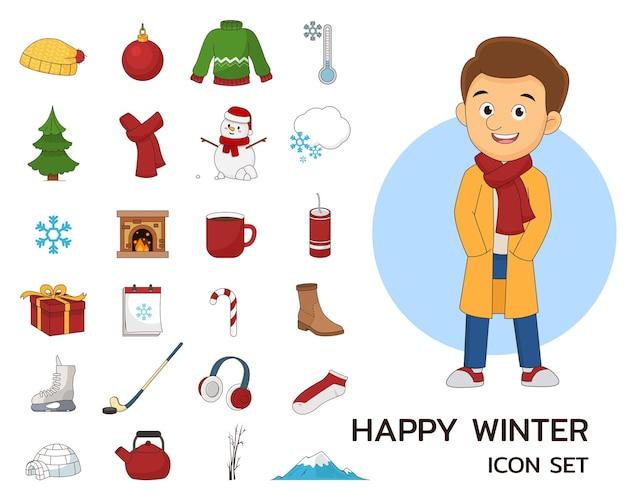 Концепция счастливой зимы плоские значки.