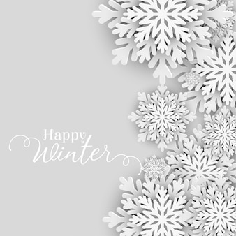 Happy winter greeting with snowflakes