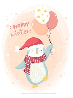Happy winter happy pink penguin with red scarf and red hat