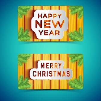 Happy winter holidays signboards decorated with fir tree branches set