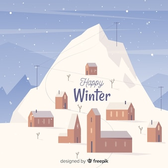 Happy winter landscape background