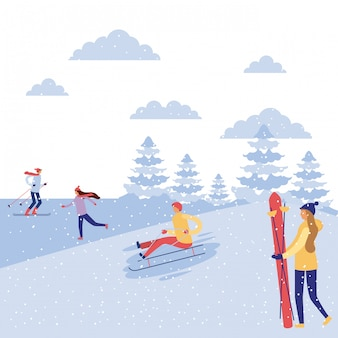 Happy winter people vacation