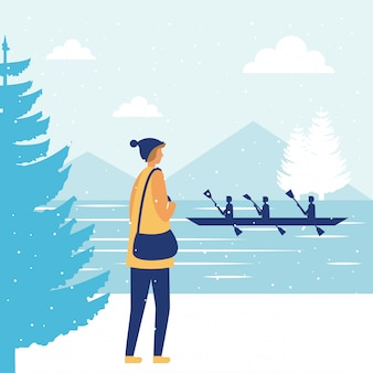 행복한 겨울 사람들 휴가