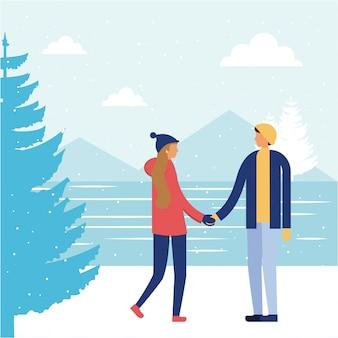Felice vacanza invernale persone