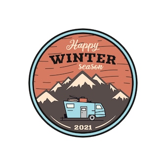 Happy winter season logo, retro camping adventure emblem  with mountains and rv trailer.